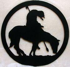 "Southwestern Flat Black Silhouette Cut Out Steel End of Trail  Horse 6"" W"