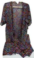 LuLaRoe Shirley Women's Kimono Size Small Color Black Geometric Pattern
