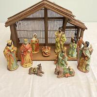 Black African American Nativity Set, Manger & 11 Porcelain Figures