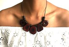 Tagua Nut Cafe Bib Necklace and Earrings Set, Brown Necklace Set - TAG110