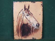 Großes Blechschild Pferd Pferde Kopf Antik Stil Nostalgie Schild mit Hänge Ösen