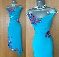 Karen Millen UK 14 Blue Silk Embroidered Asymmetric Hem Party Race Dress EU 42