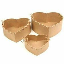 Handcrafted Paper Mache Heart Boxes with Laced Edges - 3 Boxes