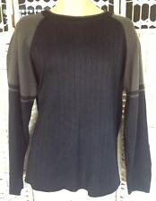 Mens Size M Originals Round Neck Black And Brown Stripe Long Sleeved Jumper