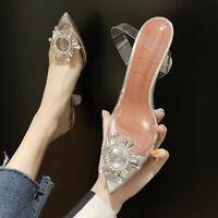 Women Pumps Sexy Transparent Rhinestone Pointed High Heel Shoes Wedding Sandals