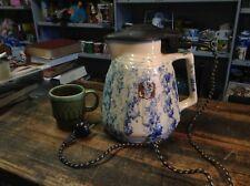 BRT Rare Australian Antique Pottery Electric Kettle Mottled Blue & White Works!