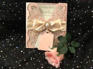 WEDDING INVITATION VINTAGE  PINK BLUSH & WHITE SPARKLE CARD  LASER CUT