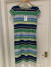 BNWT Lily and Me Sandy Bay Stripe Navy Blue Green Size 8 Linen Mix Dress £65.00