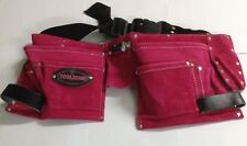 Pink Leather Ladies Tool Belt Double Pouch 11 Pockets for Ladies (Toolzone)
