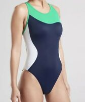 NEW! ATHLETA Women's Freestyle Navy Colorblock One Piece Swim Suit Sz 32(6) NWOT