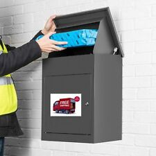 Mail Drop Box Large Wall Mounted Secure Parcel Mailbox Multiple Deliveries Grey