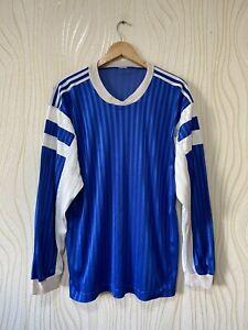 ADIDAS 70s 80s FOOTBALL SHIRT SOCCER JERSEY LONG SLEEVE BLUE
