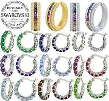 Silver Circle Hoop Huggie Hinged MultiColor Rainbow Sapphire Earrings
