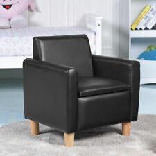 Single Kids Sofa Armrest Chair Wood Construction w Storage Box Living Room Black