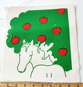 MARUSHKA Textile Print Panel Fabric Horse Apple Tree Red Green