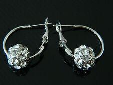 Crystal Disco Ball Hoops Shamballa Style Hoop Earrings E81