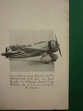 7/1932 PUB SGA MOTEUR LORRAINE 230 CV AVION HANRIOT HAGELEN COUPE MICHELIN AD