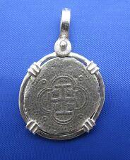 Sterling Silver Small Pirate Escudo Shipwreck Colonial Pirate Coin Pendant Charm