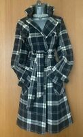 10 UK Karen Millen Brown Ivory Check Wool Military Jacket Trench Coat EU 38