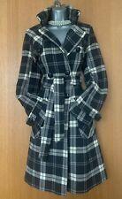 10 UK Karen Millen Brown Ivory Check Wool Military Jacket Trench Coat EU 38