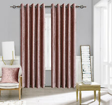 Pair Of Heavy Crushed Velvet Curtains Fully Lined Eyelet Ring Top Silver Grey