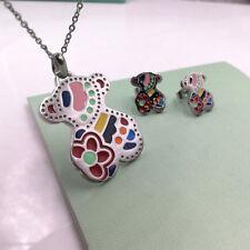 Cute Bear Necklace Earrings Set Rainbow Beautiful Pendant Necklace Woman Jewelry