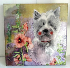 Wall Picture Plaque , Vintage Retro style Handmade / I am sweet dog / Decoupage