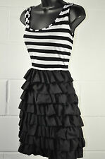 Cotton Blend Round Neck Party Striped Dresses for Women