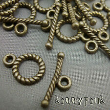 10 Ant Gold Bronze Round Toggle Clasps Necklace Finding