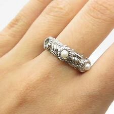 Judith Ripka 925 Sterling Silver Real Pearl Ring Size 7 1/4