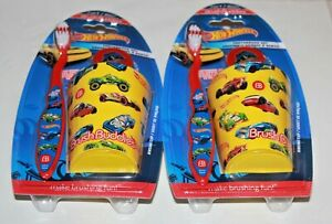 Hot Wheels Cars Brush Buddies Toddler Childs Toothbrush Cover Cup Lot Of 2 New