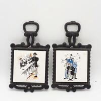 Vintage Cast Iron Trivet w/ Ceramic Tile Bar Scenes Set of 2 Made in Japan