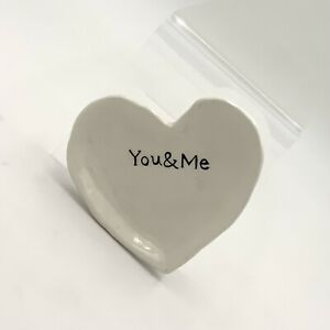 Creative Co-Op Ceramic Heart Dish In White With Black Lettering