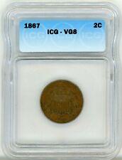 1867 Two Cent 2C Regular Strike BN ICG VG 8