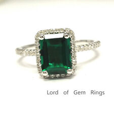 6x8mm Emerald Cut Emerald Engagement Wedding Diamond Halo Ring 14K White Gold 6#