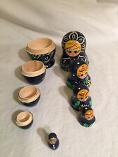 Vintage Matryoshka Russian Stacking Nesting Dolls 5 Doll Set blue  W/Flowers