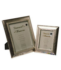 "Silver Photo Picture Frame Holds One 5x7"" Photo - Brushed Silver Leaf Effect"