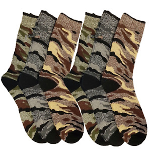 Mens Camo Thermal Army Boot Thick Walking Hiking Outdoor Winter Socks 6-11