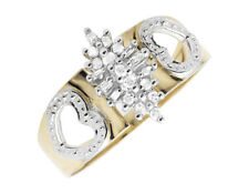 10K Yellow Gold Marquise Composite Heart Genuine Diamond Engagement Ring 0.25ct.