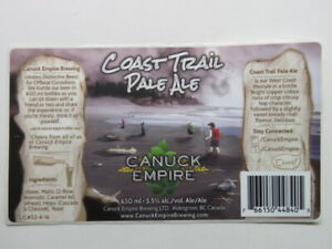 BEER Label STICKER <^> CANUCK EMPIRE Brewing Coast Trail Pale Ale ~*~ BC, CANADA