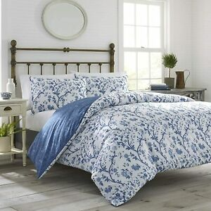 Laura Ashley  Shabby Chic Navy Blue Floral Cotton 3 PC Duvet Cover Set KING