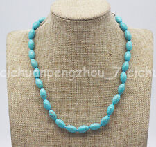 Pretty 8x12mm Blue Turquoise Rice Beads Gemstone Necklace 18-36''