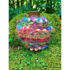 Woven Pottery Jug Bear Claw Makers Mark Decorated Colorful Wool Thread Beads