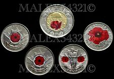 "CANADA 2004 2008 2010 2015 2018 ""COLOURED POPPY"" COIN SET UNCIRCULATED"