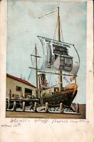Vintage Advertising Postcard GREAT MAJESTIC RANGES Sailing Ship / 1904 Cancel