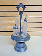 Antique CRUET SET w/ SILVERPLATE Ferns + Flowers & 4 GLASS Containers  (TH1537)
