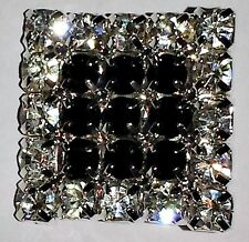 2 Silver & Black Grade A Rhinestone Crystal Square Button 16mm M0197