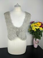 People Tree %100 Wool Crop Vest Beige Waistcoat Gilet Sleeveless Bolero Medium