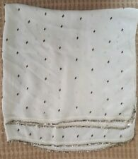 ANTIQUE OTTOMAN WOMEN'S SILK HEAD SCARF SHAWL HAND EMBROIDERED WITH SILVER BEADS