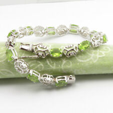"""925 Solid Sterling Silver Real PERIDOT ! August Birthstone 7.4"""" Inches Bracelet"""